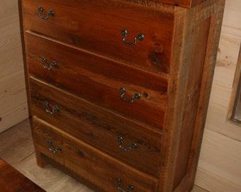 Barnwood Dresser Four Drawer - Reclaimed Wood Dresser - Barnwood Chest
