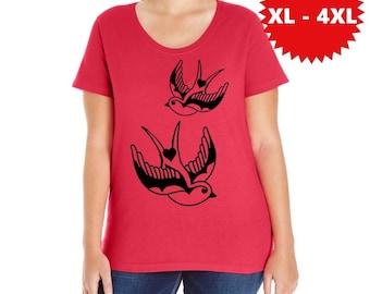 Plus Size Bird Shirt Tattoo Swallow T-shirt Women's Punk Shirt birds gift XL 2XL 3XL 4XL Clothing Curvy Women Tees