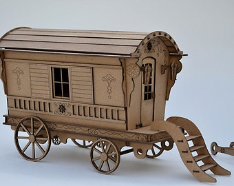 Gypsy Caravan Kit- Build your own- Gypsy Wagon- miniature
