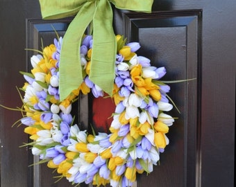 SUMMER WREATH SALE Spring Wreath, Tulip Wreath, Spring Decoration, Door Wreath for Spring Custom Size
