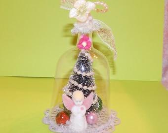 Handmade Snow Globe Miniature Christmas Scene Ornament with Vintage Miniatures Bottle Brush tree and Flocked Angel
