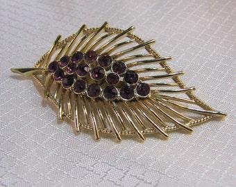 1960's Gold Leaf Brooch with Purple Rhinestones