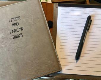 "Engraved 7"" x9"" Tan Leatherette Mini Portfolio witg Notepad - I DRINK"