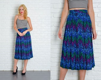 Vintage 80s Blue + Green Retro Skirt High Waist A-Line Pleated Abstract XXS 4816