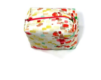 Multi-colors cosmetic bag, zipper pouch,  travel organizer, makeup bag,  toiletry storage or  project bag zipper pouch.