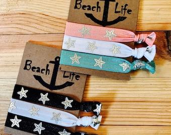 Beach Life hair ties, beach hair ties, anchors, beach hair, party favors, wedding gifts, bridesmaid gifts, Birthday, yoga hair ties,