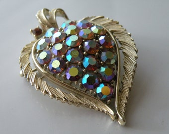 On Sale LISNER leaf brooch, pin. Pink AB rhinestones. Gold tone metal.