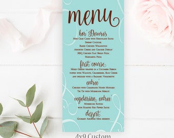 Teal Wedding Menu, 4x9 Wedding Menu, Custom Wedding Menu, Printable Custom Menu, Wedding Decor, Menu, Table Menu Card, Menu