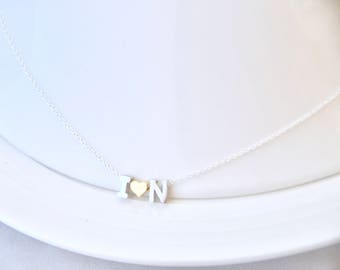 Anniversary Gift for Wife - Couples Necklace/ Custom Initials Necklace/ Tiny Letters Necklace/ Alphabet Necklace/ Letter Bead Necklace