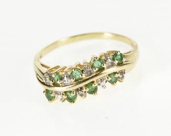 10K Emerald Diamond Inset Wavy Curvy Band Ring Size 9 Yellow Gold