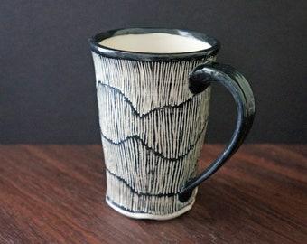 Minimalist Black and White Pottery Mug - Modern Coffee Mug - Sgraffito Pottery Mug - Mother's Day Gift - Gift for Her - Gift for Him