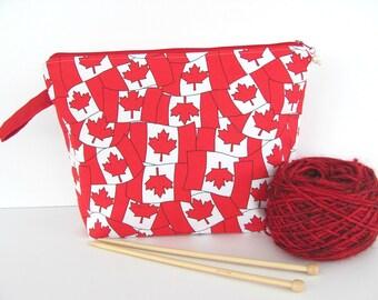 Zippered Knitting Bag, Socks knitting bag, Canadian Flag project bag, large Cosmetic bag - Red White Crochet bag
