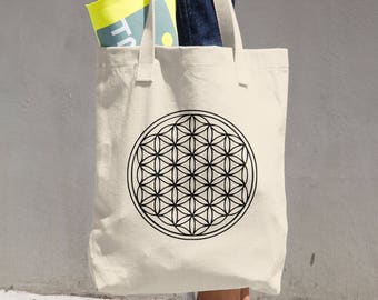 Seed of Life Cotton Tote Bag, Tote Bag, Yoga Bag, School Bag, Grocery Bag, Boho bag, Totes, Gifts for her, Yoga Gifts, Gifts for her