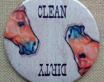 """Dishwasher Magnet, 3.5"""", Dirty or Clean, Horse Heads, From Original Art, Western, Animals, Farm, Country"""