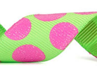 """CLEARANCE - 7/8"""" Morex Sugar Dots Grosgrain Ribbon - Lime/Hot Pink - 20YDS - Only 1 Roll Left"""