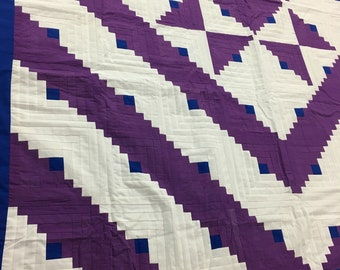 Imperial Purple Log Cabin Star with Great Lightning Borders QUILT TOP