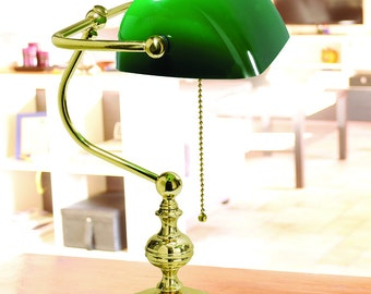 Green desk banker lamp-Made in Italy