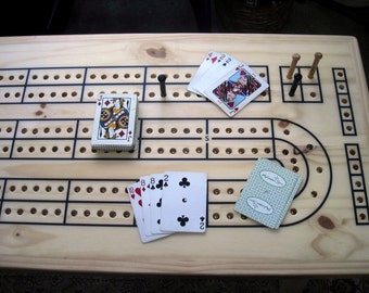Game Room Cribbage Table, Knotty Pine Wood,  Cribbage Table, Cribbage, Cribbage Board, Home Decor, Father's Day Gift