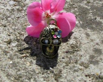 Skull pendant X 1 stylized of color bronze 20 X 17 mm