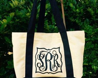 Monogrammed Canvas Tote Bag - Monogram tote bag, Boat tote, Weekend Bag, Bridesmaid gift, Monogrammed Gifts