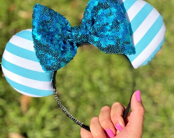 Baby Blue and White Striped Mouse Ears