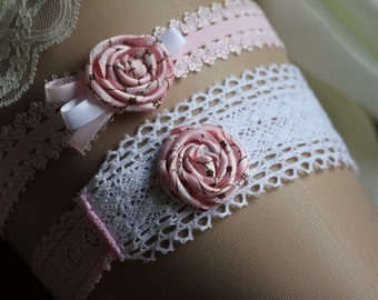 Pink Garter set, Flat elastic lace garter, with rosettes in pink and white