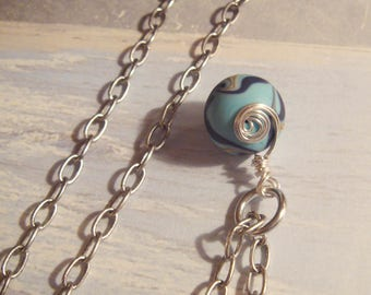 "My#32LW Pretty! Lampwork Bead w/Matte Silver 24"" Chain!..15mm Round with Swirls Blue/White Lampwork Bead Pendant! Nice Gift!"