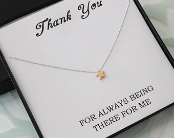 Rose Gold Star Necklace wth message card, Friendship Necklace, Jewelry gift for Sister, Thank you jewelry, best friend gift