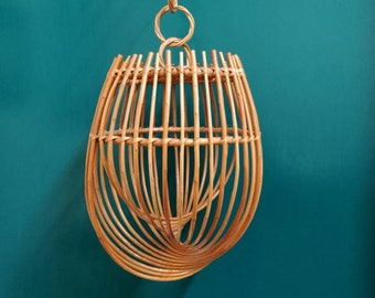 Decorative Hanging Rattan Spiral c.1970s. In the Style of Franco Albini