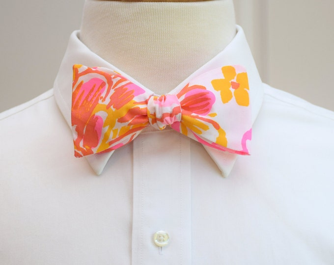 Men's Bow Tie, Happiness Is pinks and gold Lilly print, neon pink, yellow bow tie, floral bow tie, wedding party bow tie, groom bow tie,