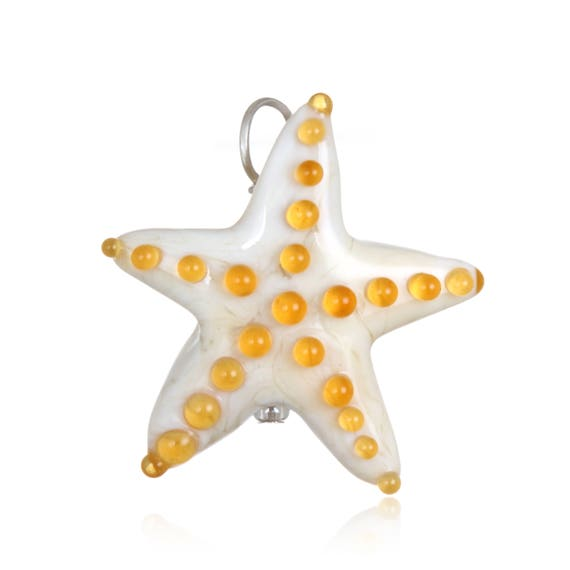 Glass Starfish Pendant Necklace on Leather