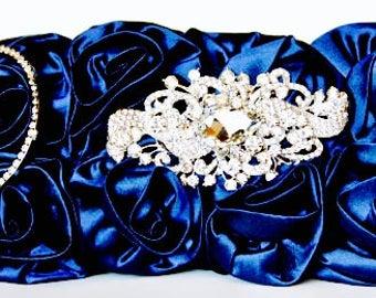 Cobalt Blue Purse - Taffeta Clutch, Evening Bag w/ Gorgeous Swarovski Crystal Accent - Blue Clutch - Blue Bag - Blue Rose - Something Blue