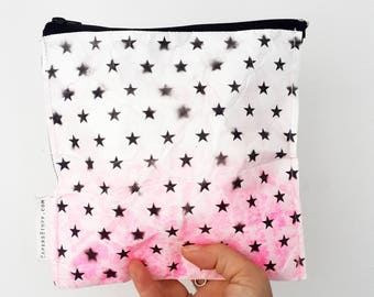 zipper pouch, fashion accessories, black stars on a mixed background, eco-friendly , teenager gift, handmade gift, Cosmetic bag, cool gift