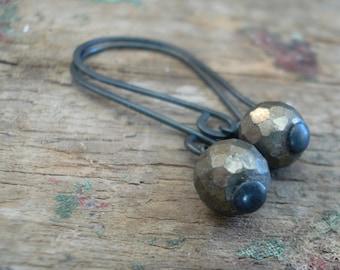 Sway Earrings. Glitter - Handmade. Hand forged. Pyrite. Sterling Silver Oxidized Earrings