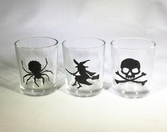 Set of 3 Halloween Votive Candle Holder - Hand Painted Spider, Witch and Skull with Crossbones Glass Candle Holders