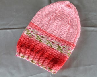 hand knitted hat, child, girl, pink,