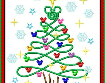 Mickey Mouse Christmas Lights Tree Sketch Digital Embroidery Machine  Design File 4x4 5x7 6x10 8x12