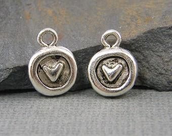 Small Heart Charms Antique Silver Round Heart Charms Mini Heart Charms Small Heart Earring Findings Rustic Small Pendant |NU3-17|2 XN