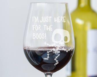 Boos Halloween Glass, Halloween Wine - Beer - Gin - Whiskey Glass (OHSO786)