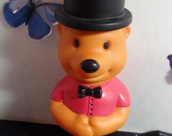 """Vintage Battat Bear Bubble bottle.  It is made of rubber, and still has the blower inside.  7 1/4"""""""