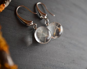 Dandelion seeds Real Dandelion earrings Resin jewelry dandelion Terrarium earrings Dandelion seed Nature Jewelry  Real dandelion