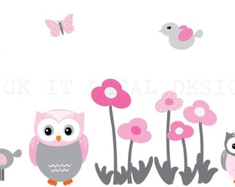 Girl room Wall Decal, Owl Wall Decal, Owl wall stickers, Nursery Wall Decal, wall flowers, butterflies and birds, Shades of Pink Design