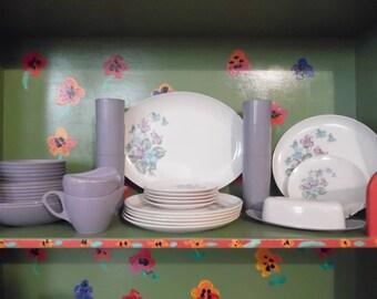 Raylon Purple Flower Melmac Melamine Plastic Plates Picnic Camping Bowls Cups Butter Sugar Cream Kitchen Mid Century Modern Retro Vintage