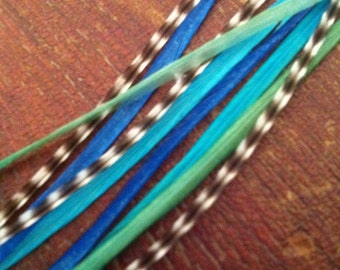 Real Feather Extensions Ice Blue Green Grizzly Mix, 4 Loose Long Hair Feathers, Soft Feather Hair Extensions