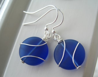 Blue Glass Earrings - Blue  Glass Jewelry - Wire Wrapped Earrings - Cobalt Blue - Frosted Glass Jewelry - Small Round - Cultured Sea Glass
