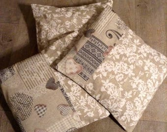 Set of 3 40cm square print matching beige and white pillow covers