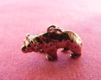 H) Vintage Sterling Silver Charm Grizzly or Brown bear