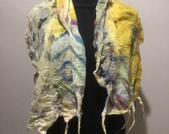 Nuno Felt silk scarf, Wool and silk fibres and fabrics hand made in a OOAK shawl / scarf