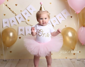 First Birthday Outfit Girl, Cake Smash Outfit Girl, Pink and Gold 1st Birthday Outfit, Birthday Cake Topper, Cake Smash Outfit Girl, Tulle