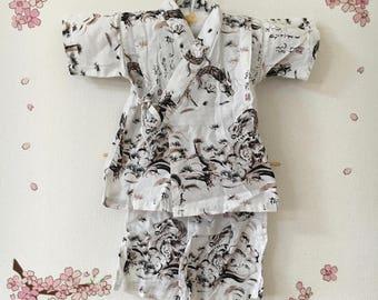 Toddler Kimono Outfit, White Traditional Design, Baby Kimono, Child Kimono, Baby Gifts, Baby Jinbei, Photo Prop Idea, Ninja Outfit, Kawaii